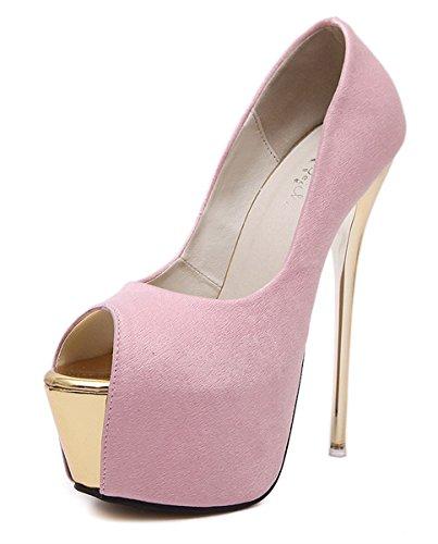 YE Damen Extreme High Heels Plateau Stiletto Pumps mit 16cm Absatz Party Schuhe Rosa