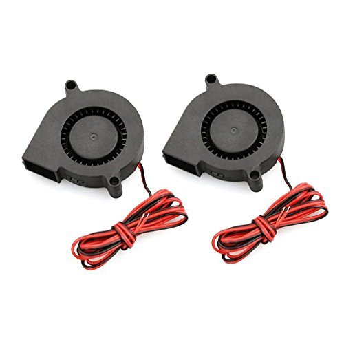 Bemodst Lot de 2 mini-ventilateurs de refroidissement 5015 12 V CC Radial Turbo pour imprimante 3D