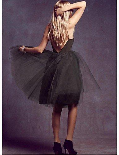 PU&PU Robe Aux femmes Gaine Street Chic,Couleur Pleine A Bretelles Midi Polyester BLACK-M