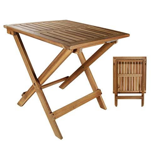 DRULINE Beistelltisch Klapptisch I Akazie Holz I 46 x 46 cm I Klappbar I Balkontisch Holztisch Gartentisch Balkon Garten   Garten > Balkon   DRULINE