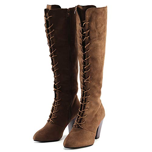 OSYARD Damen Kniestiefel Langschaft Booties Schnürstiefelett Große Größe Wildleder Elegant s, Frauen High Heels Shoes Schuhe Lace-Up Hohe Boots Overknee Stiefel(255/42, Braun)