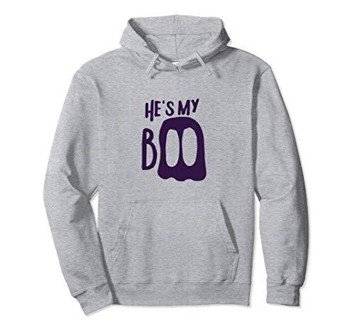 He's My Boo Passende Halloween-Partner-Kostüme für Paare Pullover Hoodie (Passende Kostüm Für Paare)