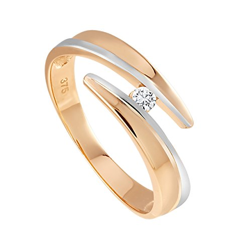 Diamond Line Damen - Ring 375er Gold 1 Diamant ca. 0,05 ct., roségold