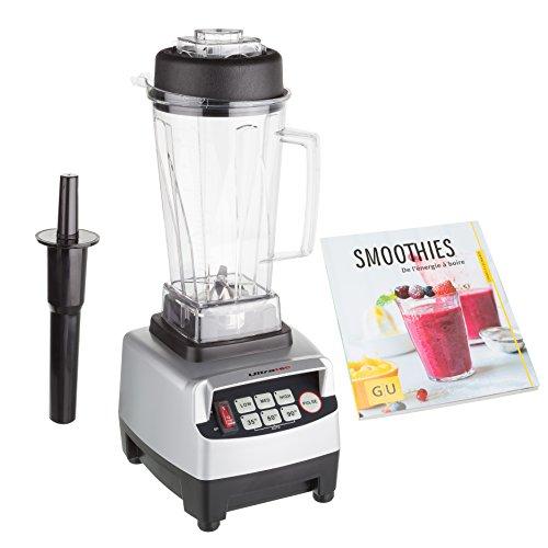 Ultratec - Licuadora profesional de cocina, sin BPA, con 6cuchillas de acero inoxidable con libro de batido de frutas plata