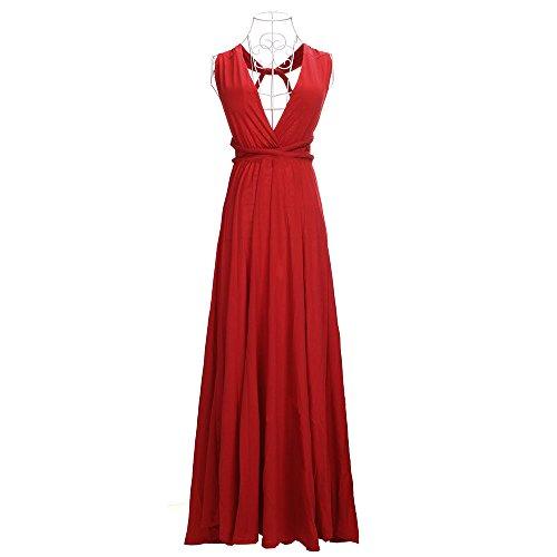 Robe de soirée longue pour femme Robe de soirée à plusieurs étages Red