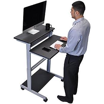 mobiler ergonomischer stand up computerschreibtisch schwarz schreibtisch l nge 80cm amazon. Black Bedroom Furniture Sets. Home Design Ideas