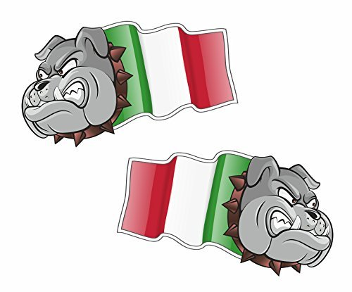 sticar-it LTD Hand Paar Italien italienisch Trikolore Flagge Bulldogge Maskottchen Vinyl Auto Fahrradhelm Aufkleber medium 100mm Breite
