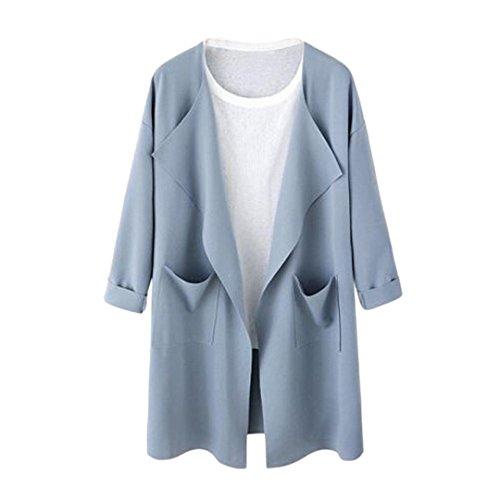 Manadlian Mode Frühling Herbst Winter Frauen Damen Legerer Stil Strickjacke Sweatshirt Langen Mantel Schwarz Blau Rosa Jacke Outwear (XXXL, Blau)