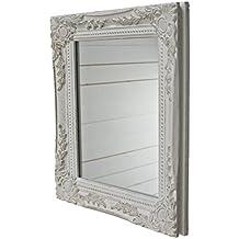 32x27x3cm rettangolo Parete specchio, Annata-Antico-cornice di Legno fatto a mano, bianco, compresi attaccamento.