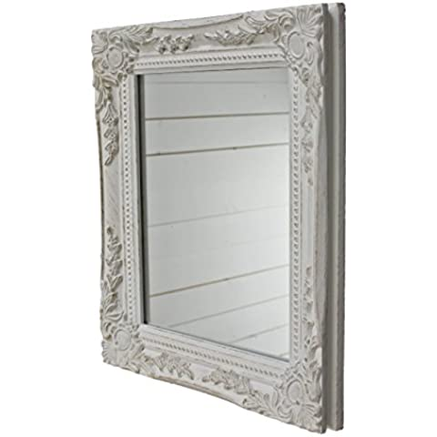 32x27x3cm rectángulo espejo de pared, vendimia-antiguo-marco de madera hecho a mano, blanco, incluido