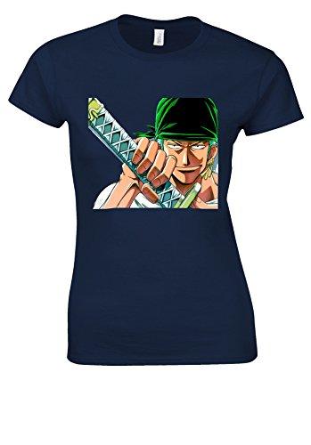 Zoro One Piece Japanese Manga ????? Novelty Navy Women T Shirt Top-XXL