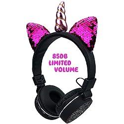 Audífonos de Unicornio para niños con Orejas de Gato, Auriculares inalámbricos Plegables con Soporte de micrófono TF Tarjeta, Entrada Auxiliar