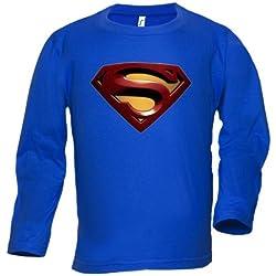 Camiseta Superman Logo 2008 manga larga (Talla: Talla L Unisex Ancho/Largo [56cm/74cm] Aprox])
