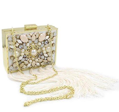Ladies Diamanti Perle Nappe Borse Da Sera Borse Abiti Preziosi Perline Ricamate Borse Da Sera Borse Da Box Gold