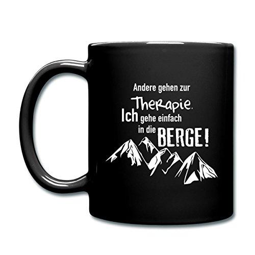 Spreadshirt Berge Statt Therapie Klettern Wandern Bergsteigen Tasse einfarbig, Schwarz