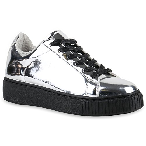 Plateau Sneakers   Damen Sneaker Low   Glitzer Metallic Schuhe   Sportschuhe Strass   Turnschuhe Lack Animal Print   Camouflage Silber Schwarz Lack