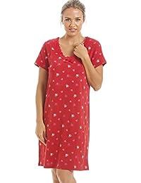 Camille - Chemise de nuit en coton - femme - motif cœurs - rouge