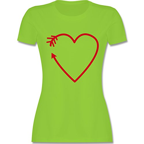 Shirtracer Romantisch - Herz Pfeil - Damen T-Shirt Rundhals Hellgrün