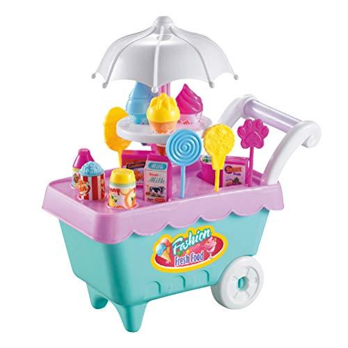 STOBOK Ice Cream Candy Cart Pretend Play Lebensmittel Dessert Food Supermarkt Trolley Candy Mini Cart Tisch Spielzeug Trolley Set Spielzeug mit Musik Licht Mädchen und Kinder