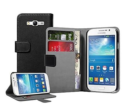 Membrane - Noir Portefeuille Etui Coque Samsung Galaxy Grand Neo (GT-i9060, GT-i9060DS, GT-i9060L) - Wallet Case Housse + 2 protections d
