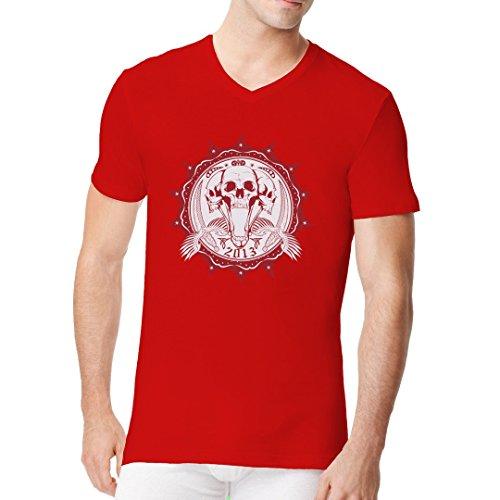 Gothic Fantasy Männer V-Neck Shirt - Skullsiegel Piraten Totenköpfe mit Schwertern by Im-Shirt Rot