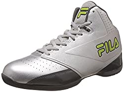 Fila Mens Reversal Silver, Grey and Neo Green Basketball Shoes -6 UK/India (40 EU)