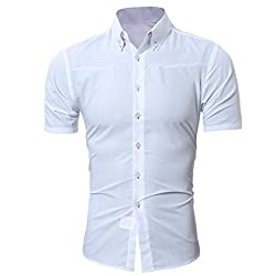 MCYs Mens Shirt Slim Fit Elastic Formal Shirt Casual Solid Button Down Shirts for Men's Polo Solid Color Printing Tees Shirt Short Sleeve Top Blouse Dress