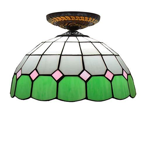 HHRONG KronleuchterKronleuchterTiffany Stil Decke Lamp30CM Glasmalerei Kleine Deckenleuchte, Gang Flur Balkon Kreative Mediterrane Deckenleuchte -