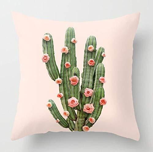 CHJTKDT Kissenbezug Kaktus Grün Blätter Kissenbezug Tropische PflanzenKissenbezugFür Auto Sofa Home DekorativeDrd98-12