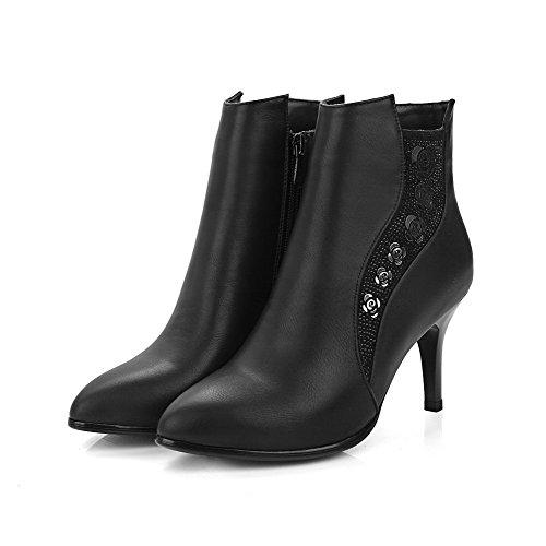 AgooLar Damen Stiletto Weiches Material Niedrig-Spitze Reißverschluss Stiefel Schwarz