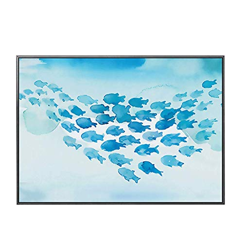 YILIAN BHUA Up Flip-Top Stromzähler Box dekorative Malerei, geeignet für Restaurant Hotel Schlafzimmer, Blaue Fisch Tinte Muster schwarz PS Rahmen Kristalloberfläche, Querschnitt Wandbild