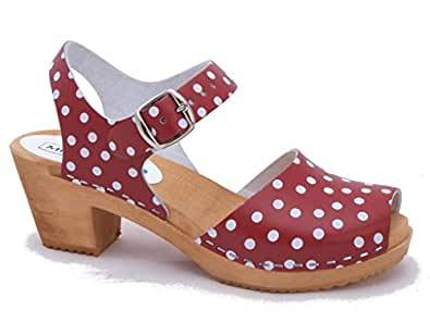 043661254478c3 Moheda Swedish Clogs   High Heel Open Toe Clogs Moa Red Dots in ...