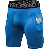 Shengwan Pantalones Cortos de Compresión Hombre Térmicos Correr Gimnasio Mallas Cortos con Bolsillo Azul S