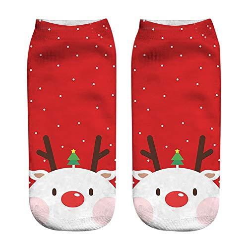 (iHENGH Vorweihnachtliche Karnevalsaktion Damen Herbst Winter Bequem Lässig Mode Frauen 3D Cartoon Funny Christmas Crazy Cute Erstaunliche Neuheit Print Söckchen)