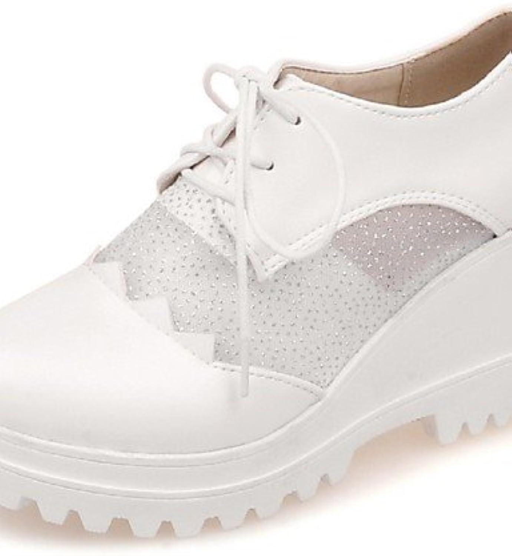 ZQ Zapatos de mujer-Tacón Cuña-Cuñas / Punta Redonda-Oxfords-Oficina y Trabajo / Vestido / Casual-Tul / Semicuero-Azul...
