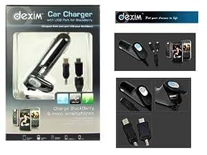 DEXIM - Chargeur auto allume cigare 1,5A + Port USB pour Blackberry tous modèles Bold, Storm, Curve etc.. et Tous mobiles , GPS, Lecteur Media... (DCA155)