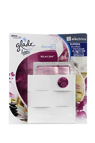 Glade Discreet Eléctrico Fragancia Relax Zen - Ambientador Eléctrico de Hogar, Elimina los Olores y Devuelve el Frescor (Aparato + Recambio)