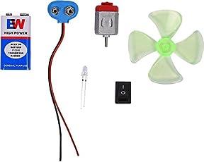 NextGeek 4.5-5V DC Motor, Mini Fan Blade, 9v battery and LED Educational Electronic Hobby Kit