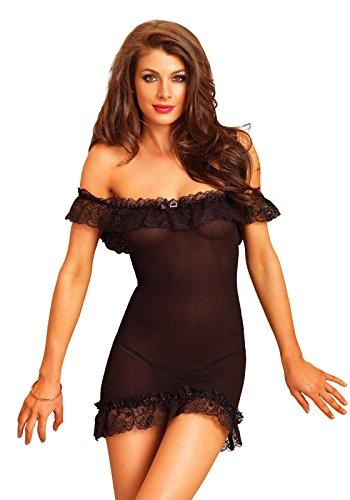 Leg Avenue 86607 - blickdichte Schulterfreies Chemise, schwarz (Größe: Einheitsgröße) (Kleid Mini Mit Strass-schnalle)