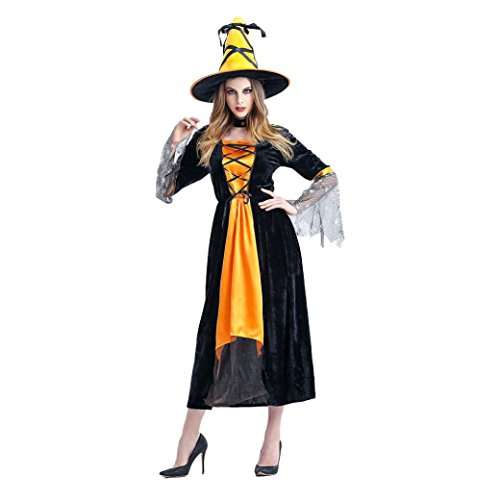 Womens Gelb Witch Kostüm Performance-Anzüge Cosplay Outfit Props + Hat für Party & Halloween & (Halloween Kostüme Avengers Womens)