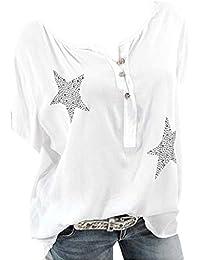 fec99e9b3 Camisa de Manga Corta de Botón de Mujer,Tallas Grandes Camisetas Mujer  Manga Corta Camisas