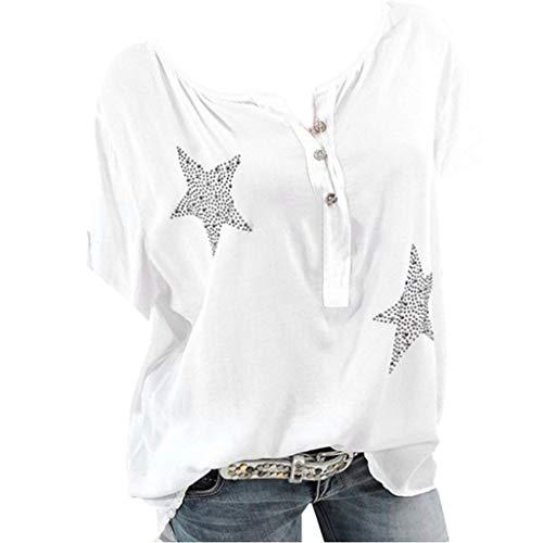 AIni Tops T Shirt Femme Pas Cher A La Mode ÉTé Bouton Col Rond Imprimé avec éToile à Cinq Branches Et Diamants Chauds Camisole Chemise Gilet VêTements(XL,Blanc)