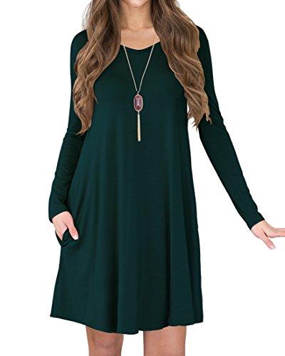 LILBETTER Frauen Langarm-Taschen-beiläufige lose T-Shirt-Kleid (Dunkelgrün M) (Europäische Kleid T-shirt)