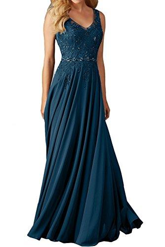 La_Marie Braut Dunkel Blau Langes Spitze V-Ausschnitt Abendkleider Brautjungfernkleider Ballkleider festlichkleider-42 Dunkel Blau