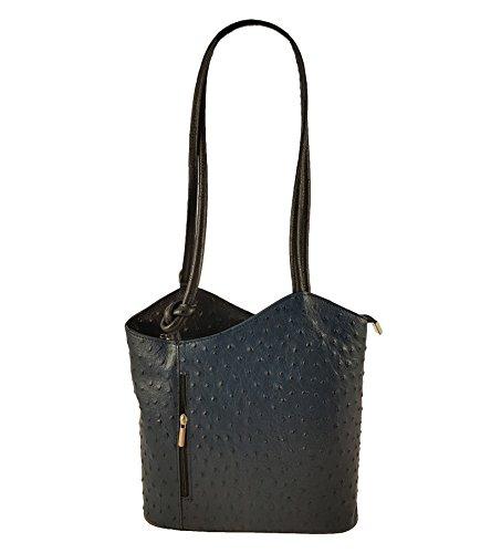 Freyday 2 in 1 Handtasche Rucksack Designer Luxus Henkeltasche aus Echtleder in versch. Designs (Strauß Dunkelblau-Schwarz)