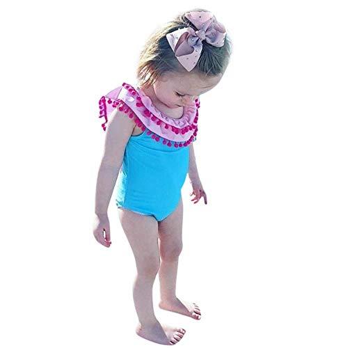 rumiao 0-3Years Kleinkind-Baby-gekräuselte Troddel-Badebekleidungs-Badeanzug-Strand-Spielanzug-Kleidungs-Badeanzug,Pink-3-6Months (Badeanzug 3 Mo)