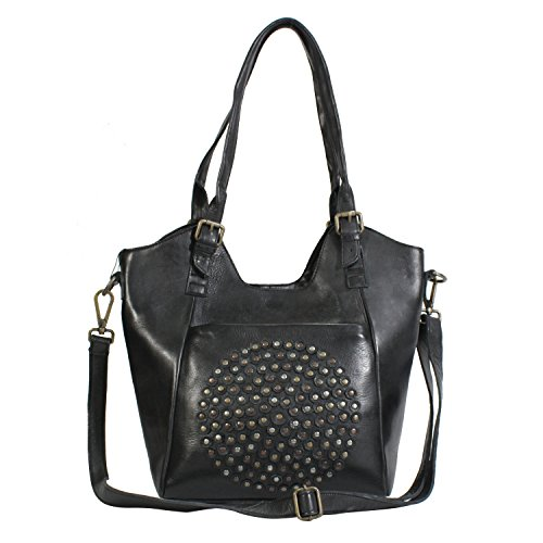 Leder Schultertaschen Damen Taschen- 100% Leder Damentasche Handtasche Schultertasche Umhängetasche (Schwarz) (Tasche Top-grain-leder)