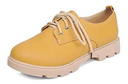 Aisun Femme Vintage Chaussures de Ville à Lacets Talon Carré Derbies Jaune
