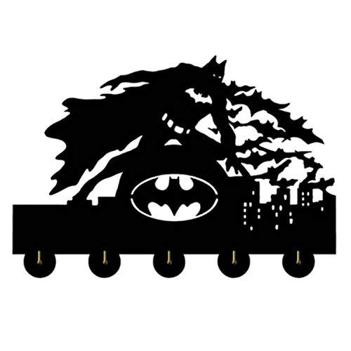 IHOOKS Fledermaus Held Design Holz Wandhaken Wandhaken Wandgarderobe Kreative Dekoration Haken Retro Schlüsselhalter Persönlichkeit Kleiderhaken 5 Haken Batman print-30cm