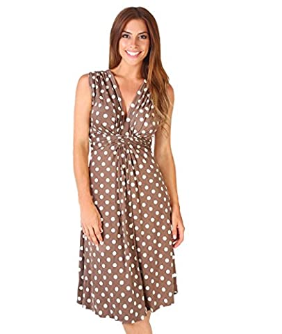 6147-MOCWHT-20: Polka Dot Knot front Dress